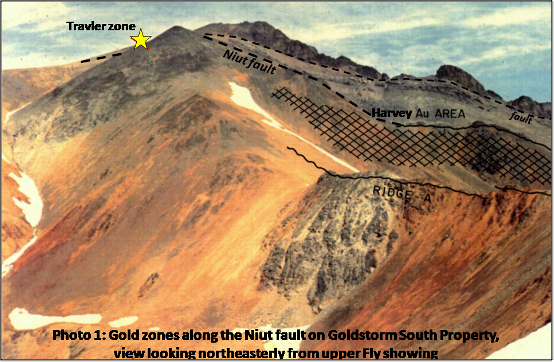 Gold Zones Along Niut Fault On Goldstrom South PropertyPicture